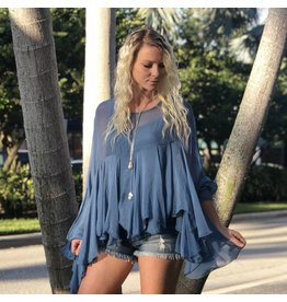 Steel Blue Boho Silk Top
