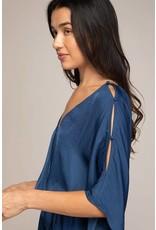 Navy Slit Shoulder Dress