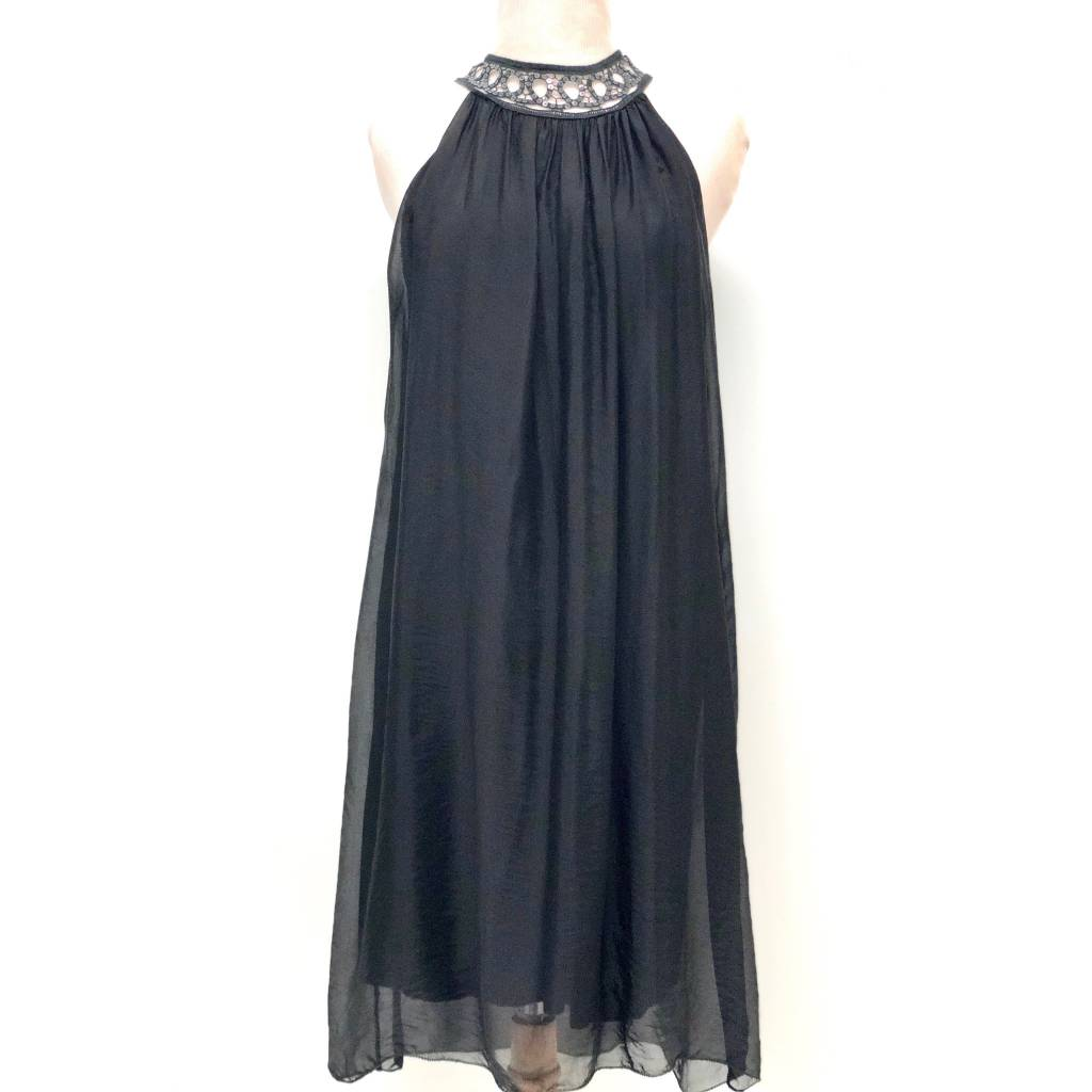 Black Silk Sequin Halter Dress