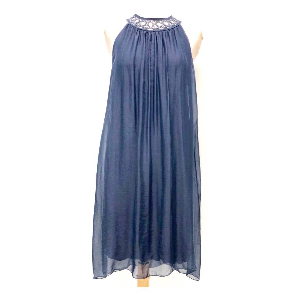 Navy Silk Sequin Halter Dress