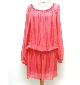 Coral Silk Mini Dress