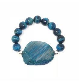 Blue Agate & Tiger Eye Bracelet