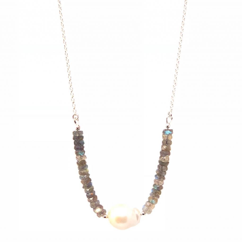 Labradorite & Baroque Pearl Necklace