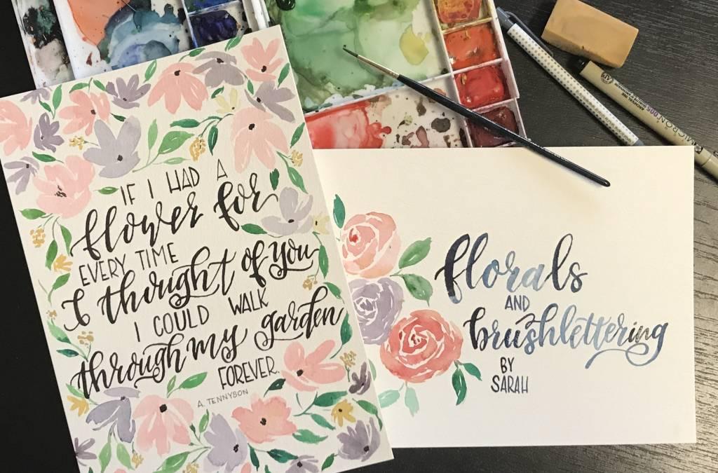 Brush Lettering w/ Watercolor-Sat. August 18- 11am-1pm