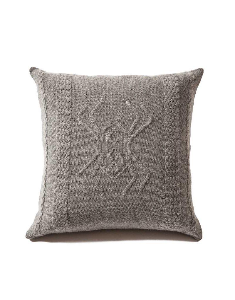 Aranea Cashmere Pillow - Gray & Ivory