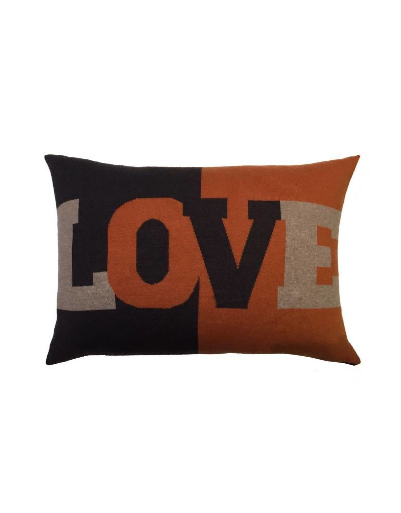 Rani Arabella Love Cashmere Pillow - Black, Blue & Orange