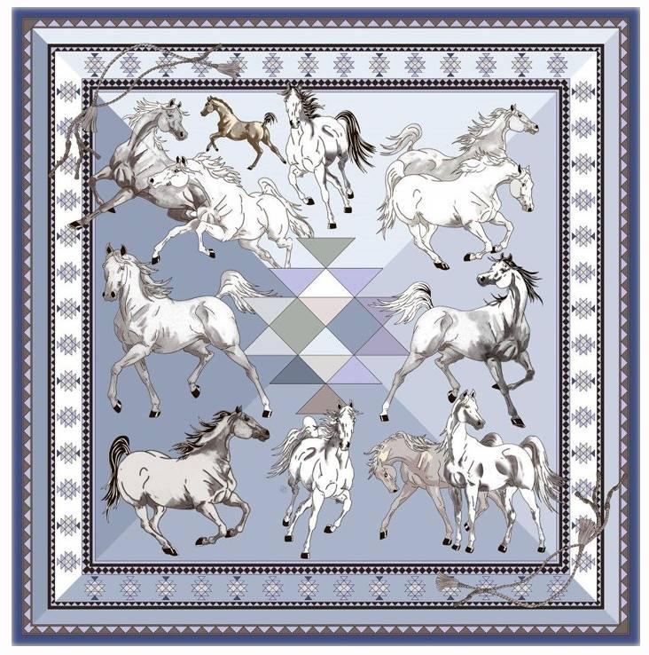 Rani Arabella Printed Cashmere Aztec Horses Shawl