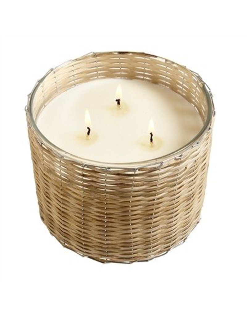 Hillhouse Beach Wood Handwoven 3 Wick Candle 21oz.