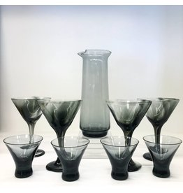 Vintage Smoke Black Morgantown Glass Set