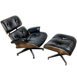 Original Rosewood Eames Lounge Chair & Ottoman in Black Leather