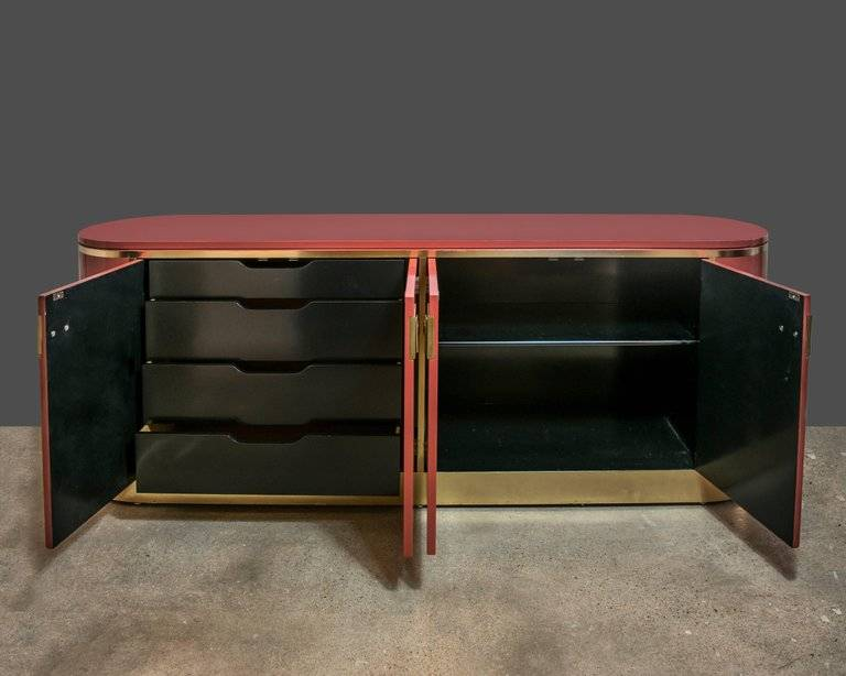 Mastercraft Brass & Moroccan Red Lacquer Credenza