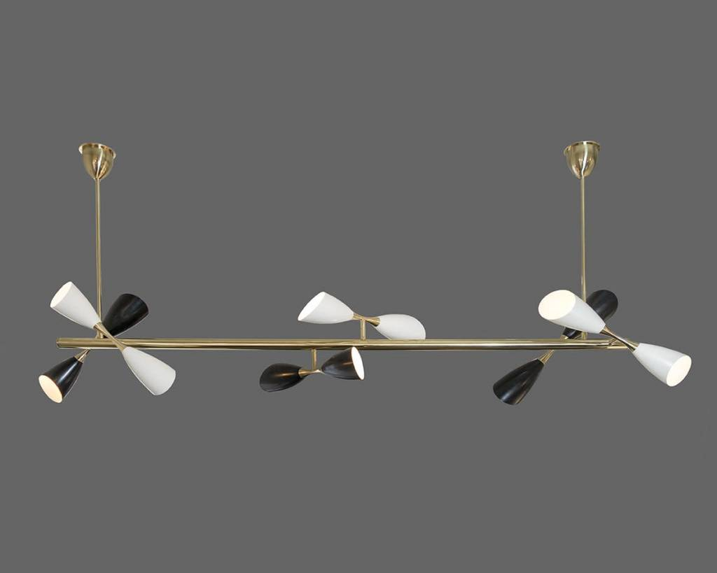 Seven Foot Long Double Pendant Stilnovo Chandelier with 12 Lights