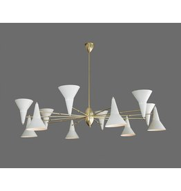 Stilnovo Brass 12 Arm Chandelier