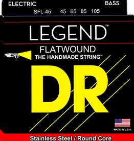 DR Handmade Strings DR Strings SFL-45 LEGEND Flatwound Stainless Steel Bass Guitar Strings, Round Core - Medium - Short Scale