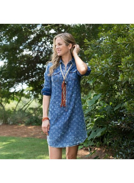 RYAN MICHAEL VINTAGE INDIGO PRINT DRESS