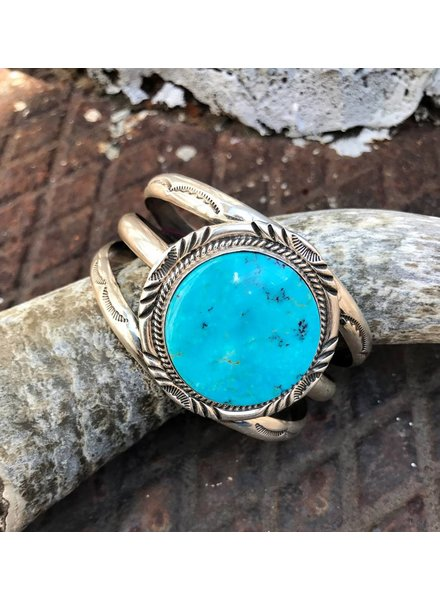 NATIVE AMERICAN JEWERLY / OLD PAWN @ ORISONS STERLING SILVER CUFF WITH TURQUOISE