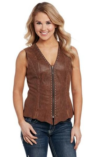 CRIPPLE CREEK HAND LACED STUDDED LEATHER VEST