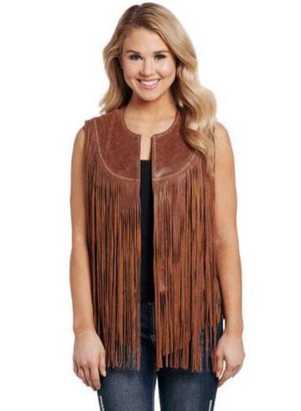 CRIPPLE CREEK WASHED LEATHER FRINGED VEST