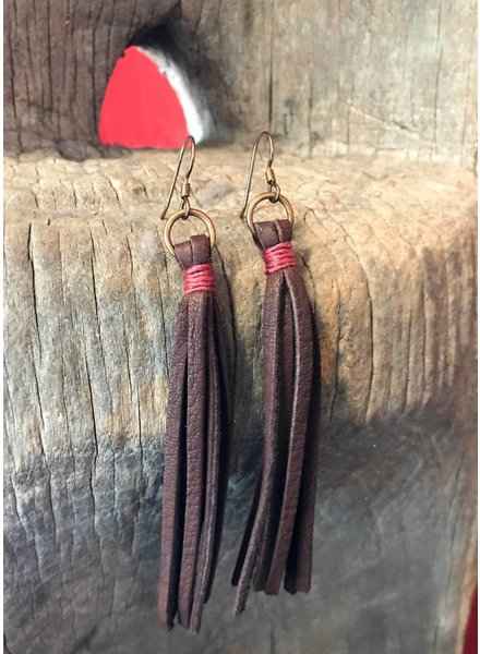 J FORKS LEATHER TASSEL & COPPER EARRINGS