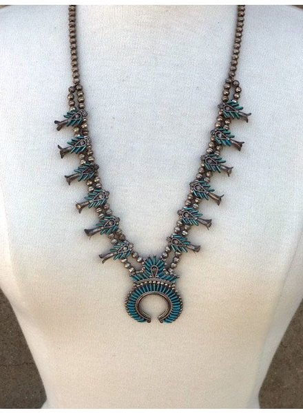NATIVE AMERICAN JEWERLY / OLD PAWN @ ORISONS VINTAGE ZUNI NEEDLE POINT SQUASH BLOSSOM NECKLACE