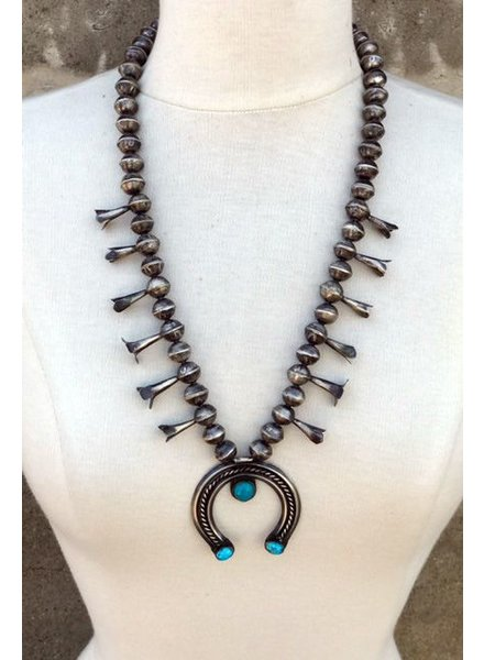 NATIVE AMERICAN JEWERLY / OLD PAWN @ ORISONS VINTAGE NAVAJO  STERLING SQUASH BLOSSOM NECKLACE