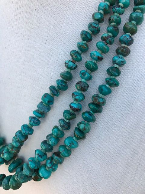 NATIVE AMERICAN JEWERLY / OLD PAWN @ ORISONS  3 STRAND BLUE GREEN TURQUOISE NECKLACE