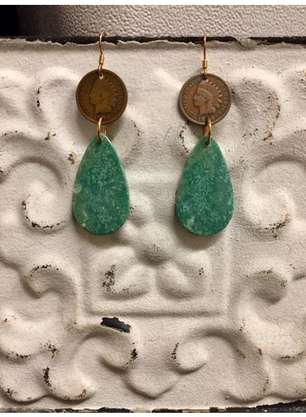 J FORKS KINGMAN SLAB EARRING WITH PENNY