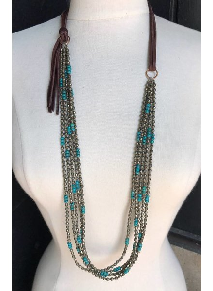 J FORKS PYRITE & TURQUOISE NECKLACE