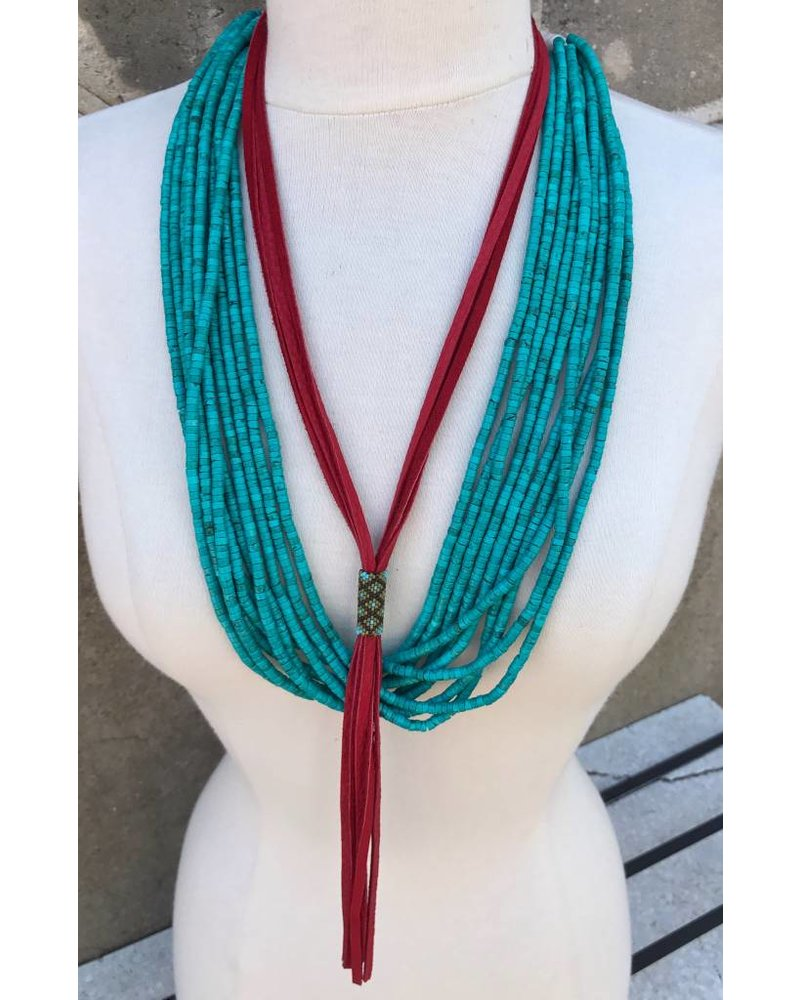 J FORKS  RED LEATHER AND PEYOTE BEAD NECKLACE