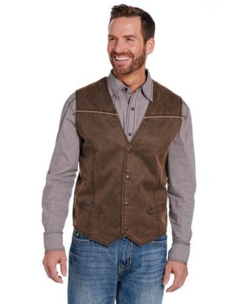 CRIPPLE CREEK ENZYME WASHED VEST WITH PIPING