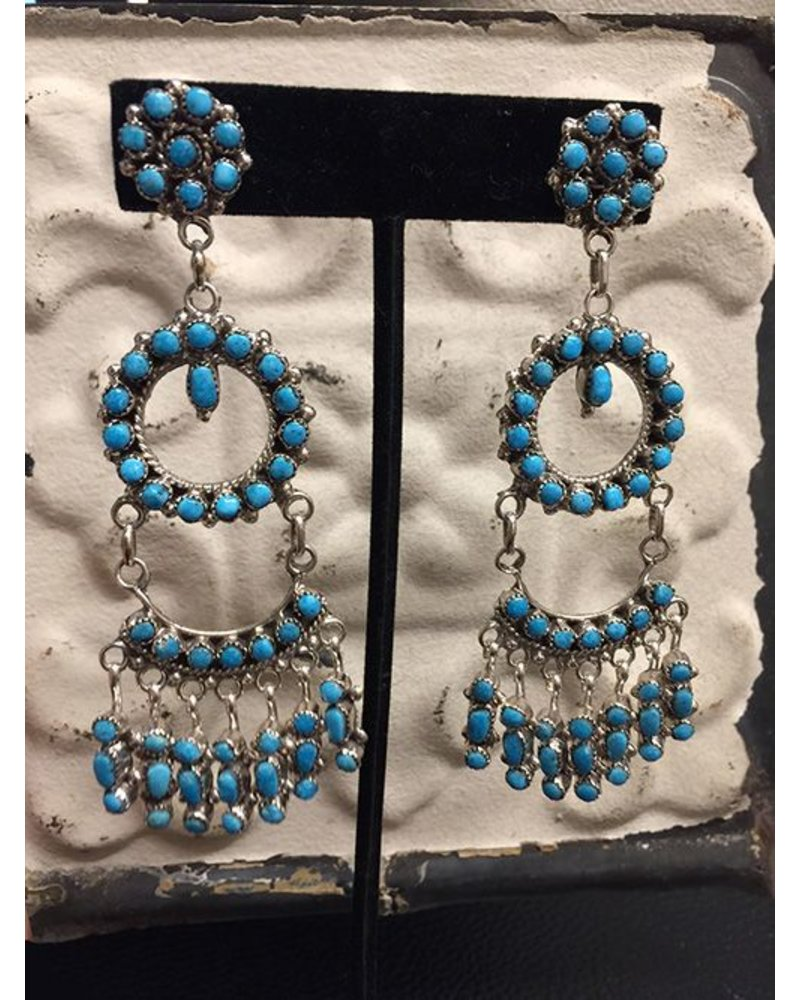 NATIVE AMERICAN JEWERLY / OLD PAWN @ ORISONS TURQUIOSE CLUSTER DROP EARRINGS