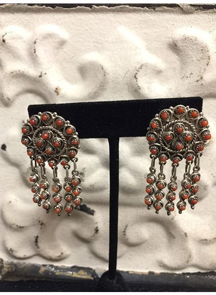 NATIVE AMERICAN JEWERLY / OLD PAWN @ ORISONS RARE CLUSTER  CORAL POST EARRINGS