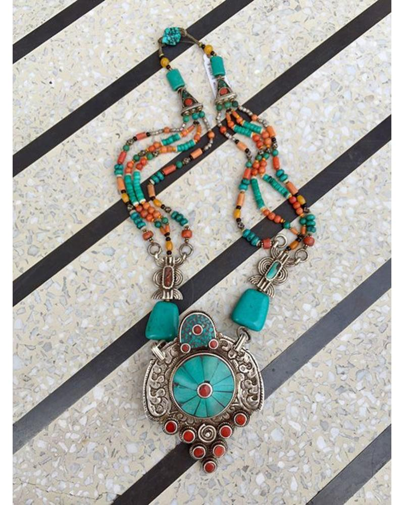 jewerly old american turquoise pawn kath coral sided n native amber tibetan at orisons tibeta necklace