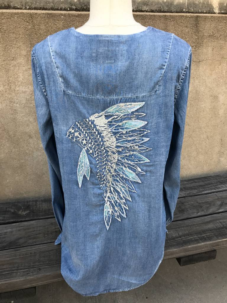 RYAN MICHAEL HEADDRESS EMBROIDERED DENIM TUNIC