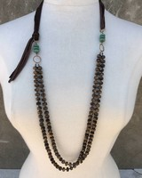 J FORKS TIGERS EYE WITH TURQUOISE NECKLACE