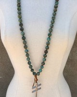 CHESLEA COLLETTE COLLECTION AFRICAN TURQUOISE WITH  SAND CASTED SILVER PENDANT