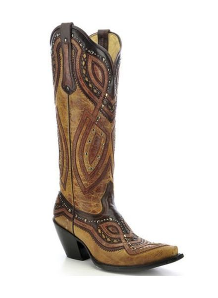 CORRAL STUDDED OVERLAY COWGIRL BOOTS