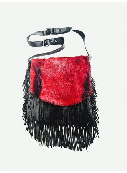 JUAN ANTONIO RED AND BLACK ANTELOPE CROSS-BODY BAG