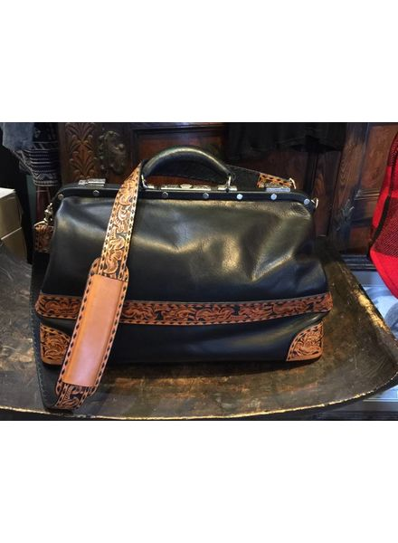 VINTAGE DOCTOR'S  BAG WITH HAND TOOLING