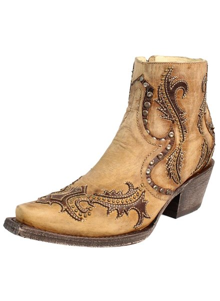 CORRAL TAN STUDS & OVERLAY ANKLE BOOT