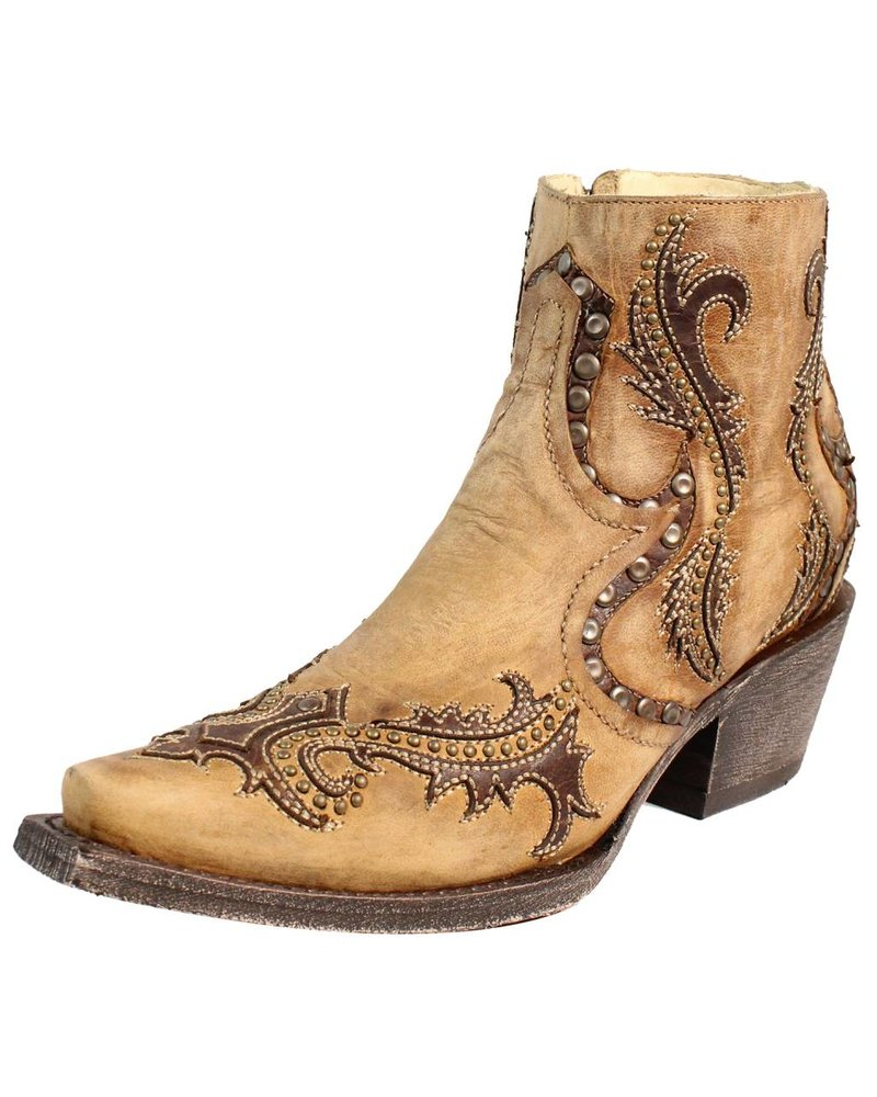 TAN STUDS & OVERLAY ANKLE BOOT