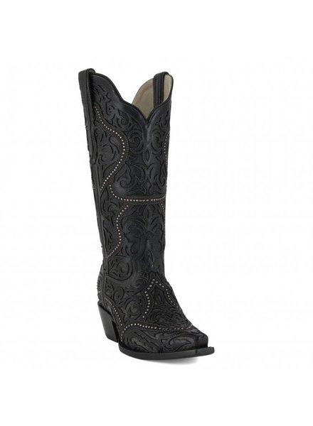 CORRAL OVERLAY STUDS BLACK BOOT