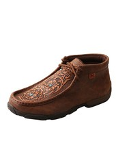 TWISTED X DRIVING MOCCASIN WITH TOOLED FLOWERS