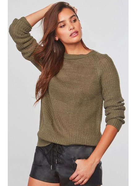 BB DAKOTA PERCIVAL OPEN BACK SWEATER IN LIGHT OLIVE