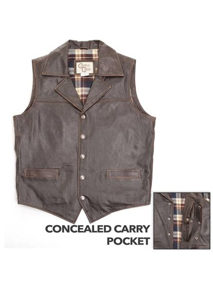 CRIPPLE CREEK CONCEALED CARRY LEATHER VEST