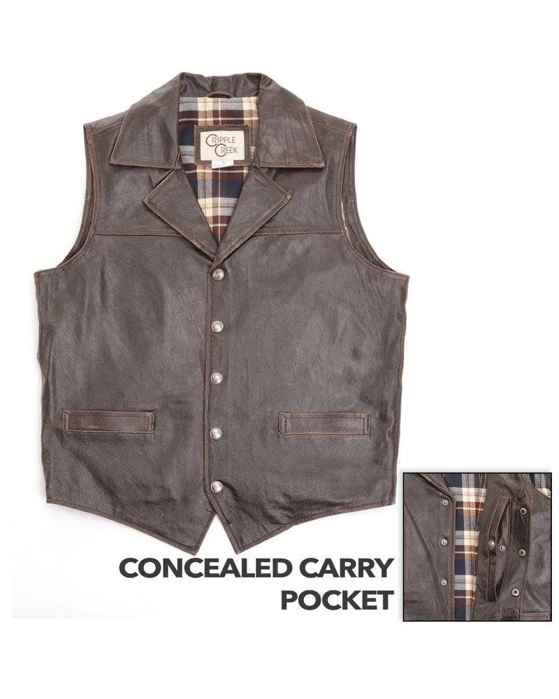 CRIPPLE CREEK CONCEALED CARRY LEATHER VEST BY CRIPPLE CREEK