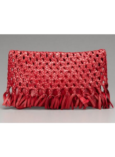 PAMELA V JUNIN WOVEN LEATHER CLUTCH