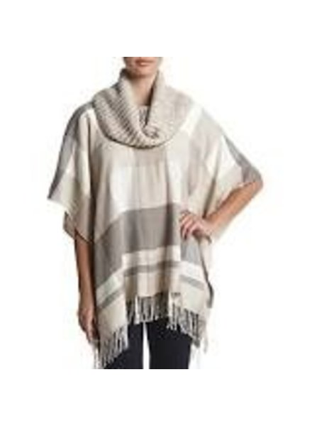 FRAAS PLAID COWL NECK PONCHO BY FRAAS