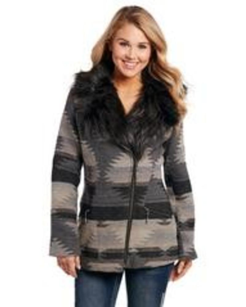 CRIPPLE CREEK ZIP FRONT NAVAHO BLANKET JACKET W/ FAUX FUR COLLAR