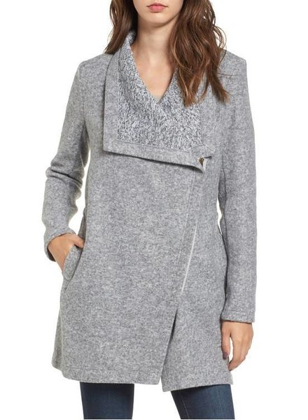 BB DAKOTA MAGGIE BRUSHED FLEECE DRAPE COLLAR COAT
